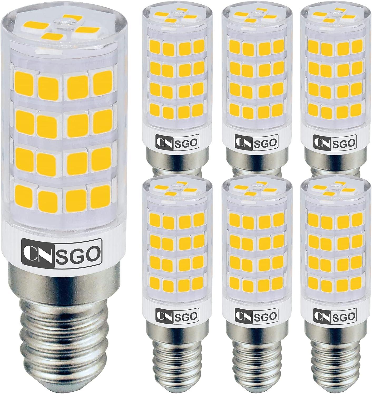 CNSGO 6 bombillas E14 Bombilla led blanco cálido, 3,5W 3000K 400Lm, ángulo de haz de 360 °, apta para campana extractora, 230V sin estroboscópico, no regulable [Clase de eficiencia energética: A ++]