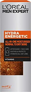 L'Oréal Paris Men Expert Hydra Energetic All-in-One Moisturiser For Men, Aftershave and Face Cream, for Dry and Tired Skin, with Guarana and Vitamin C, 75ml