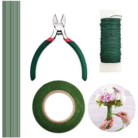 YLX Fleuriste Ruban Vert , Fil de Fleur , Fil de Fer Fleur et Ciseaux de Coupe pour Bouquet Tige Wrap Fleuriste