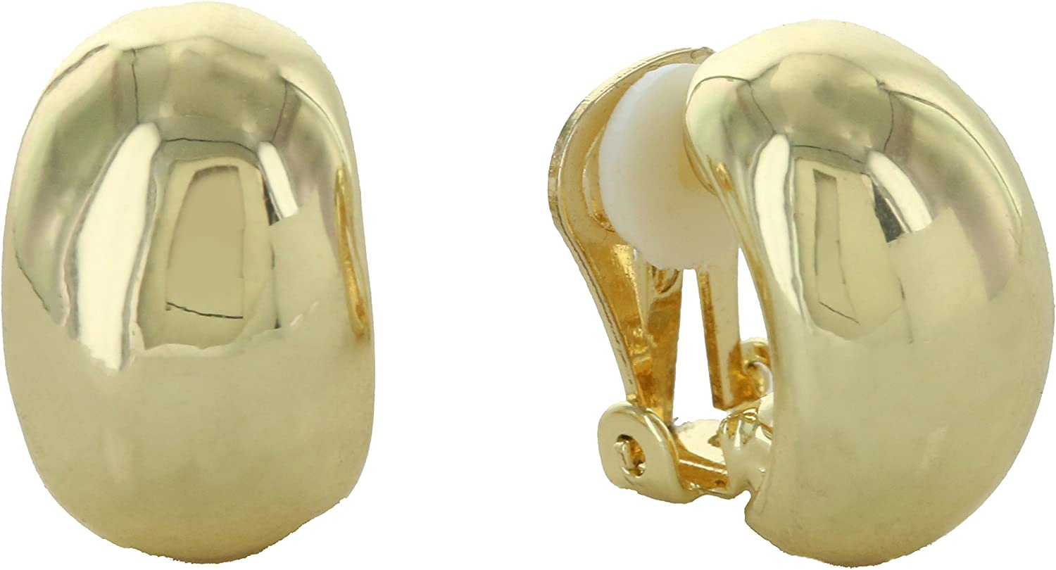 And Lovely Gold Plated Classic Half Hoop Clip On Earrings