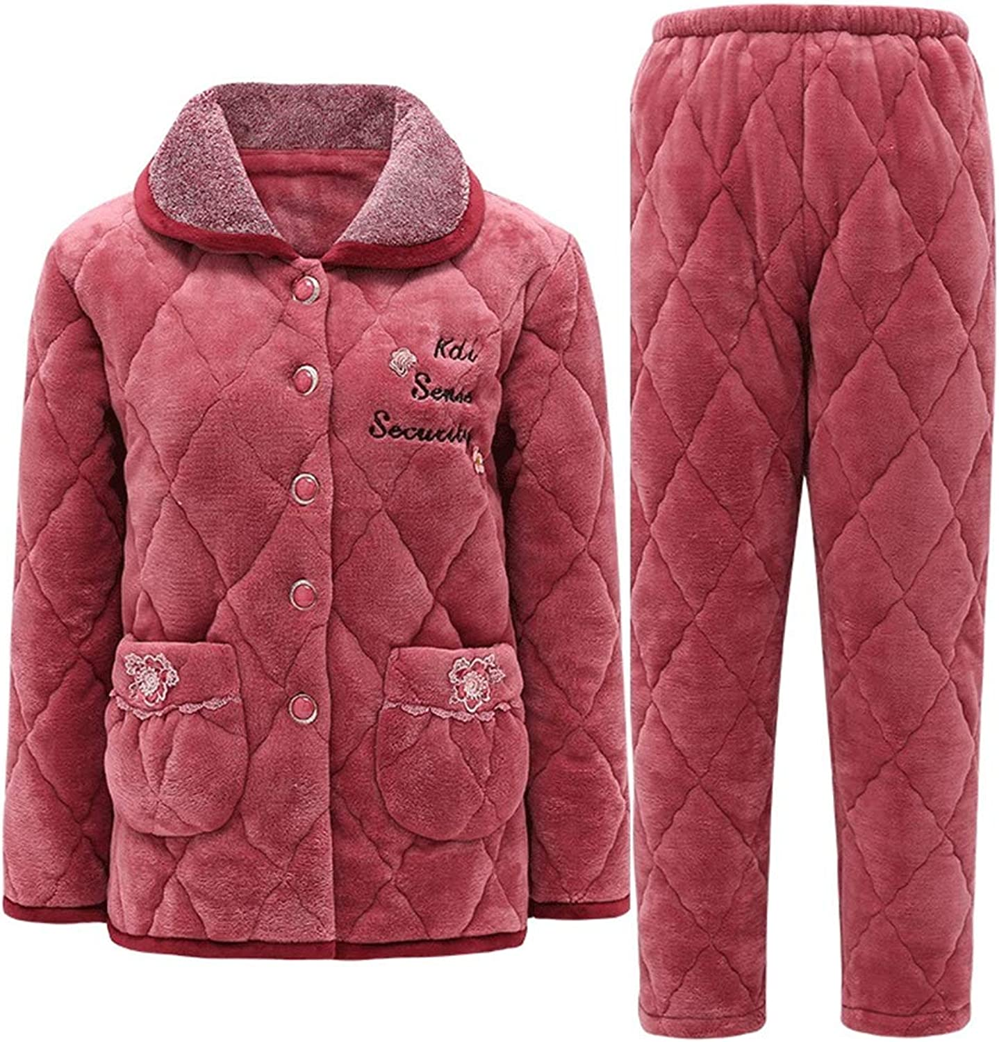 LeeQn Winter Ladies Lapel Quilted Thick Warm Flannel Pajamas Suit Nightclothes