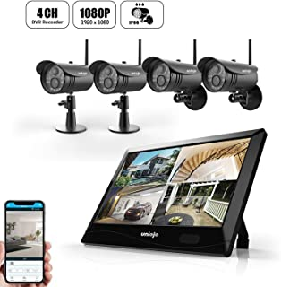 Wireless WiFi Security Camera System, UNIOJO 4Pcs 1080P HD 2.0 Megapixel Night Vision IP66 Waterproof IP Security Surveillance Cameras with 10.1inches LCD Touch Screen Monitor