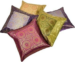 Indian Gift Emporium Colorful Jacquard Fabric 5 Pc. Cushion Covers Set 455