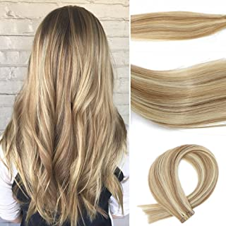 Tape In Hair Extensions 7A Two-tone Colored Hair Bleach Blonde (Color #613) Highlighted with light Golden Brown Glue in Extensions Human Hair(Color #12) (16Inche 30g/20PCS #12p613)