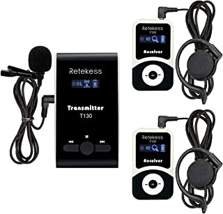Retekess T130 99 Channel Wireless Tour Guide System Microphone Church Translation System for Interpretation Training Court(1 Transmitter 2 Receivers)