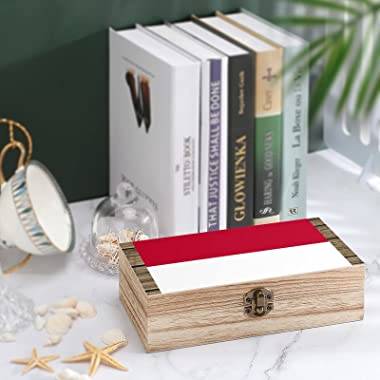 Indonesian Flag Storage box wooden daily necessities business card souvenir jewelry retro