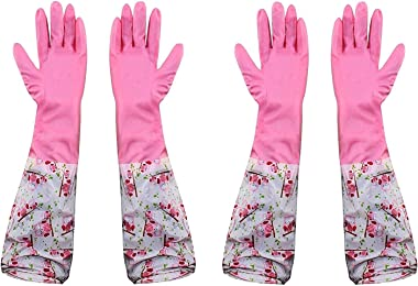 Woogor Reusable Rubber Latex Pvc Flock lined Hand Gloves For Kitchen Long Sleeves Safety Kitchen Gloves For Dish-Washing, Cle