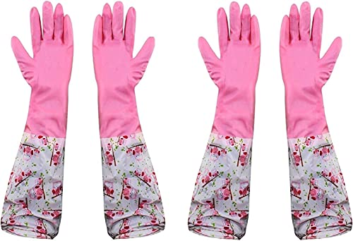 Woogor Reusable Rubber Latex Pvc Flock lined Hand Gloves For Kitchen Long Sleeves Safety Kitchen Gloves For Dish Washing Cleaning Gardening Lab Work Laundry Cleaning Gardening and Sanitation Free Size 2 Pair Of Gloves Random Colors Multi Colors