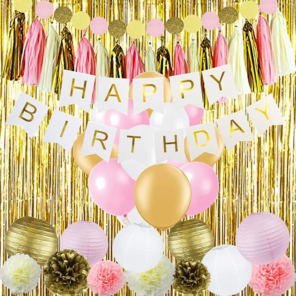 Sogorge Pink and Gold Birthday Decorations with Birthday Banner Balloons Tissue Flowers Paper Lanterns Fringe Curtain for Baby Shower Girls 1st Party