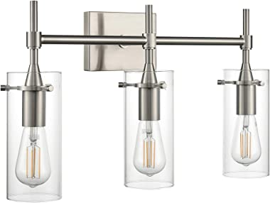 Effimero Brushed Nickel Bathroom Vanity 3 Light Fixture - Modern Over Mirror Lighting with Clear Glass Shades