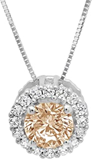 """1.30 ct Brilliant Round Cut Pave Halo Highest Quality Brown Champagne Simulated Diamond CZ Ideal VVS1 D Solitaire Pendant Necklace With 16"""" Gold Chain Box Birthstone Solid 14k White Gold Clara Pucci"""