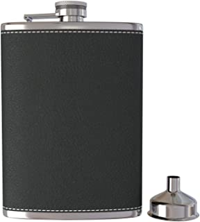 SODIAL Pocket Hip Flask 8 oz with Funnel Stainless Steel with Black Leather Wrapped Cover and Leak Proof - Fits Any Suit f...
