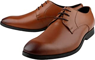 Kanprom Men's Tan Genuine Leather Formal Derby Lace-Up Shoes