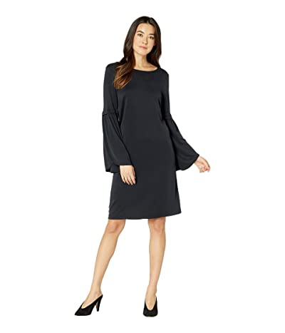 Tribal Textured Knit Bell Sleeve Dress (Black) Women