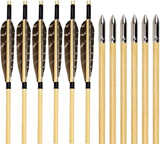 SinoArt Feather Fletching Wooden Target Arrows with Field Points for Recurve & Longbow