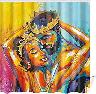 ABxinyoule African American Shower Curtain Lover Couple King and Queen Afro Woman Oil Painting Bathroom Decor Waterproof Fabric Set