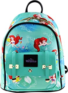 """The Little Mermaid 10"""" Faux Leather All Over Print Backpack - 16017"""