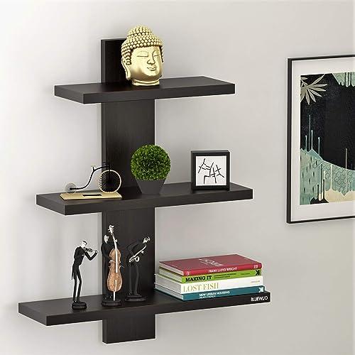 BLUEWUD Phelix Engineered Wood Multipurpose Wall Decorative Shelf/Display Rack for Living Room (Wenge Finish)