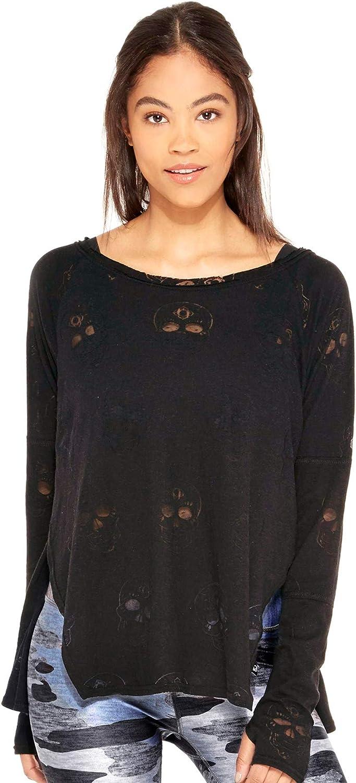 Terez Womens Long Sleeve Burnout Tee T-Shirt