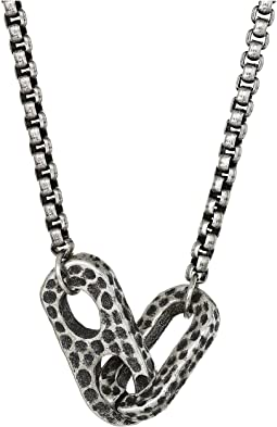 "26+2"" Interlocking Oval Design Rolo Chain Necklace in Oxidized Stainless Steel"