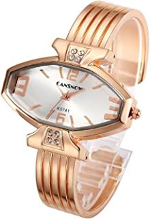 Top Plaza Women Ladies Casual Luxury Gold/Rose Gold Tone Alloy Analog Quartz Bracelet Watch Rhombus Dial Rhinestones Decorated Elegant Dress Bangle Cuff Wristwatch