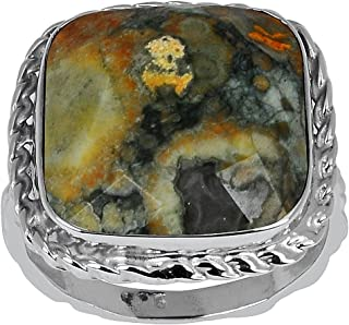 Orchid Jewelry 12.25 Ctw 14X14mm Cushion Multi Rhyolite Ring For Women| 925 Sterling Silver Engagement Ring For Girls | A ...