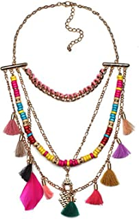 Young & Forever Boho Gypsy Gold Plated Tribal Multicolour Tassel Feather Statement Necklace for Women Wooden Bead Multilay...