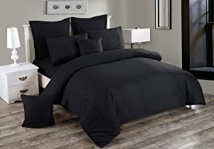 Seersucker Doube/Queen/King/Super King Size Bed Doona/Duvet/Quilt Cover Set New (King Quilt Cover Set, Black)