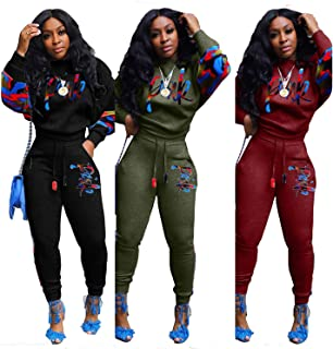 Embroidery patchwork long sleeve sweatshirt sports pants 2 pice track suit set sweat suit women comfortable