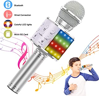 Verkstar Wireless Bluetooth 4 in 1 Karaoke Microphone, Portable Handheld Karaoke Machine Speaker Birthday Home Party Player with Record Function for Android & iOS All Devices(Silver)