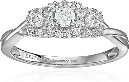 Keepsake Signature 14k White Gold Diamond Three-Stone Engagement Ring (3/8cttw, H-I Color, I1 Clarity)