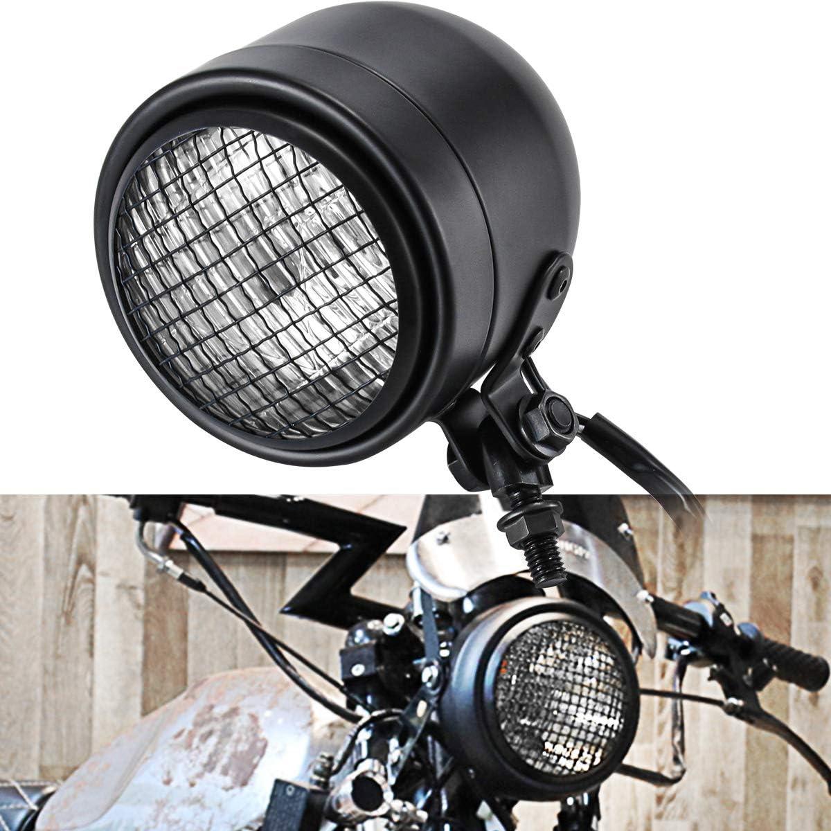 NATGIC Faro per Moto Faro per Moto 12V Faro Anteriore per Moto Retr/ò per Harley Honda Suzuki Bikes Cruisers Chopper Bobber Cafe Racer Corpo Nero Lente Bianca