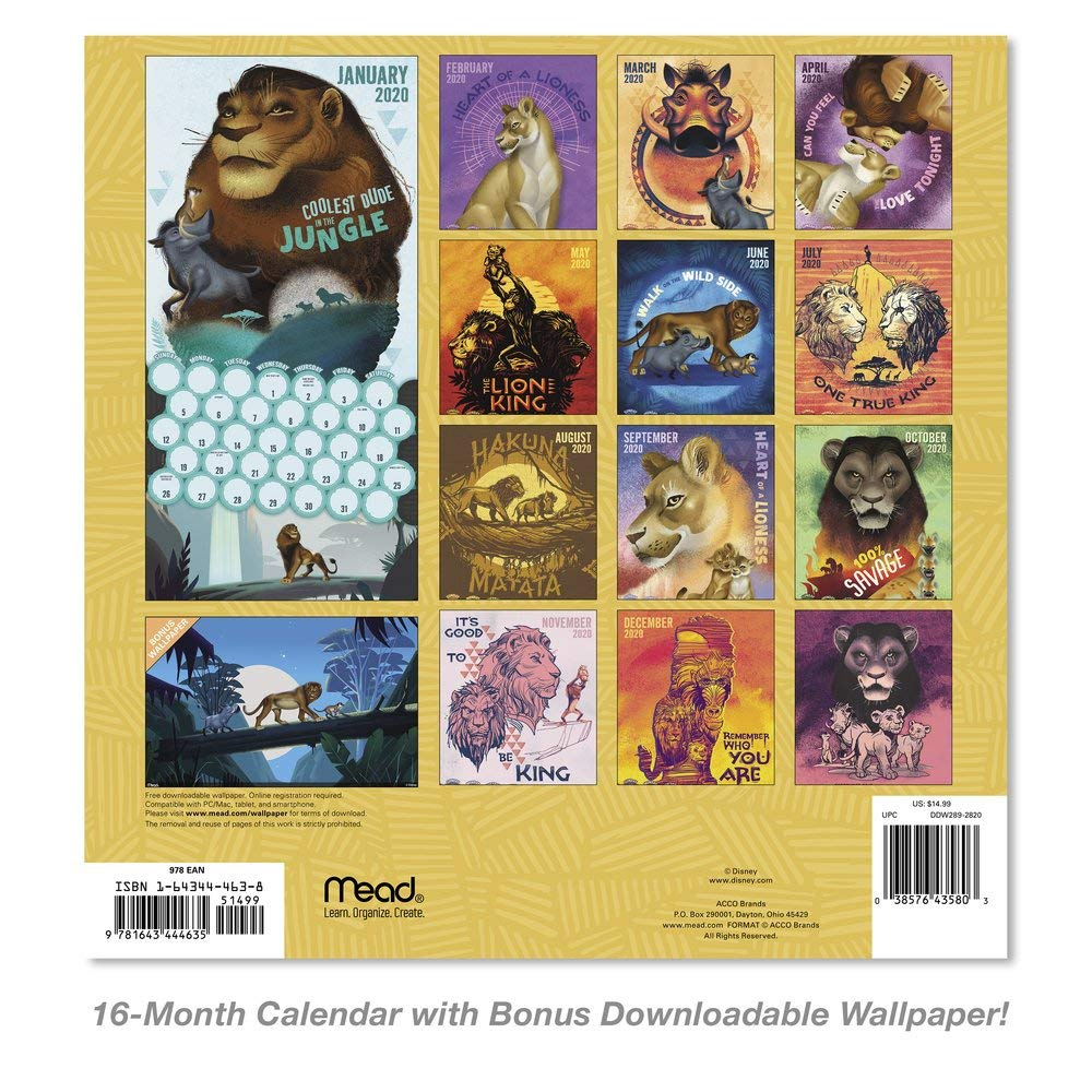 2020 Disney The Lion King Live Action Wall Calendar Ddw2892820 Wall Calendars Amazon Com Au