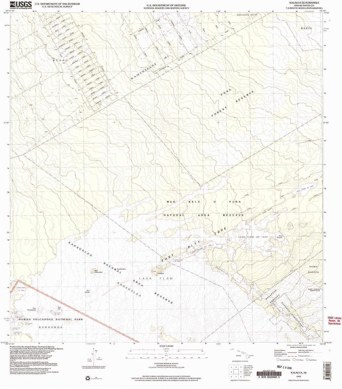 Kalalua HI topo map, 1 24000 Scale, 7.5 X 7.5 Minute, Historical, 1995, Updated 2004, 27.2 x 24 in