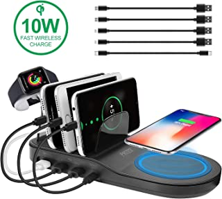 PRITEK Charging Station with 18W Fast Charge USB Port, 10W QI Wireless Fast Charge Pad, 12W Type-C Port & 2 12W Smart Ai USB Ports, Wireless Charger Station Organizer for Multiple Devices (Black)