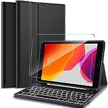IVSO Funda con Teclado Español Ñ con Protector de Pantalla para iPad 10.2 2019, Slim Funda con 7 Colores Retroiluminado Removible Wireless Teclado con Ñ, Negro