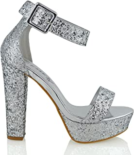 Womens High Heel Platform Sandals Ankle Strap Pumps