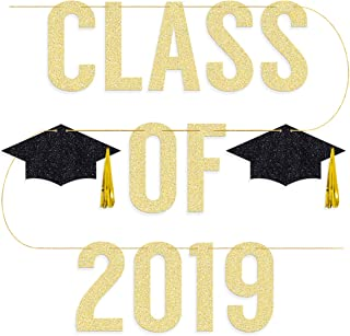 Graduation Party Supplies 2019 - Class of 2019 Banner - Pre-strung | Grad Party Decorations, Graduation Cap Tassel Decor, Gold and Black
