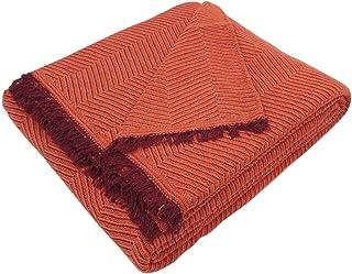 Regalitostv (125 Teja/Naranja) SEDELLA* Colcha Multiusos Foulard Plaid Liso para Cama o sofá Garantizada Fabricado EN ESPAÑA (125_x_180_cm, Teja/Naranja)