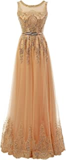 Women's Long Evening Dress, Gold Lace Appliques Sleeveless Sheath Formal Gown with Sash
