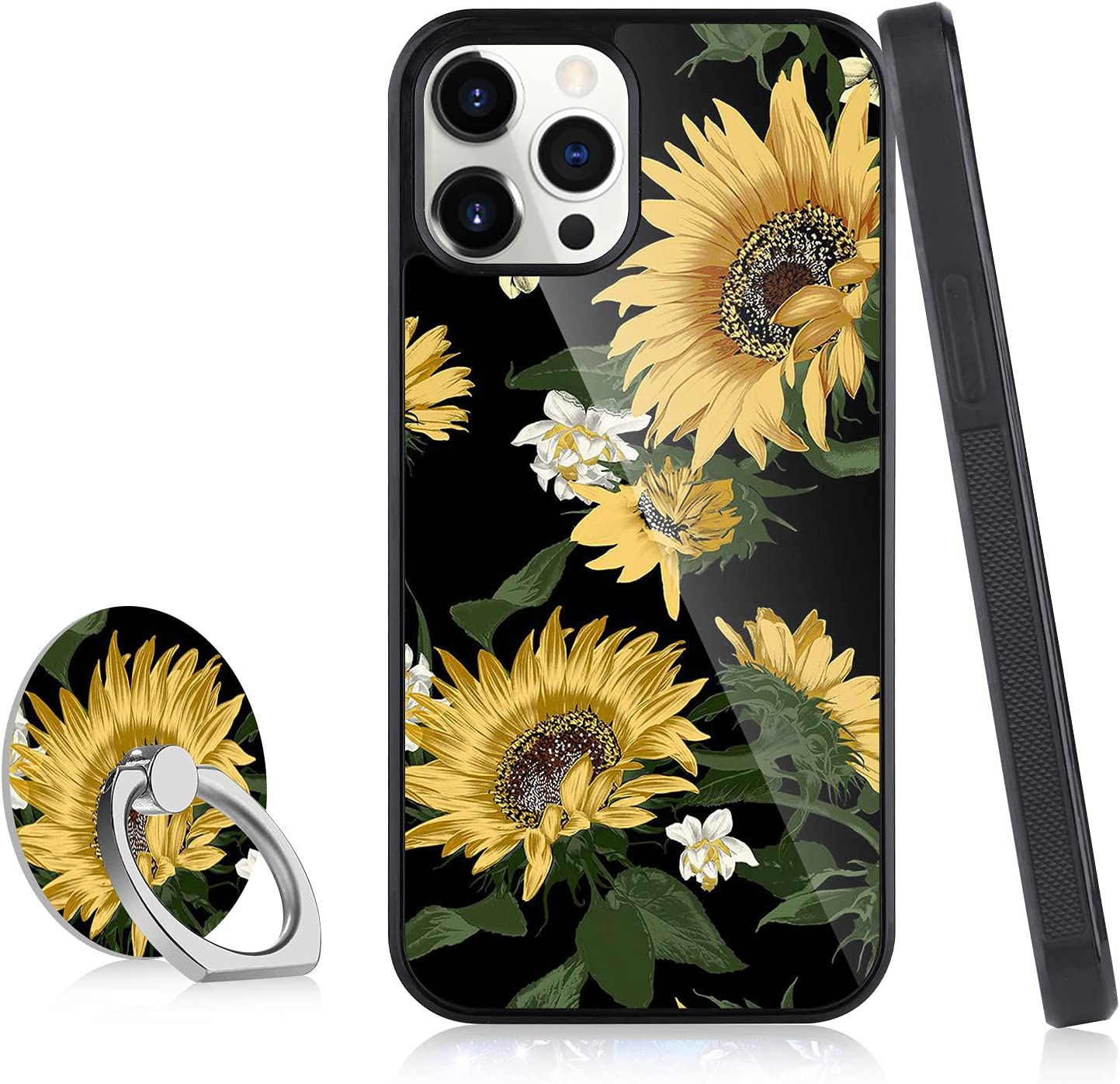 ITELINMON Compatible iPhone 13 Pro Case 6.1 in 2021, Sunflowers and Leaves Design with Cell Phone Ring Holder Tire Skid Outline Bumper Shockproof Thin Hard PC + Flexible TPU Edges Phone Case