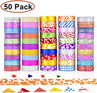 GCOA 50 Rolls Glitter Washi Masking Tape Set,Great for Arts and Crafts,DIY Scrapbooking Sticker Masking Paper Decoration Tape Adhesive School/Party Supplies