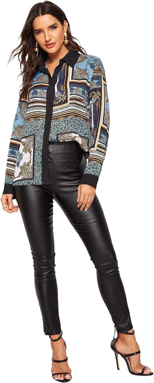 Milumia Womens Elegant Button Down Long Sleeve Print Blouse Top