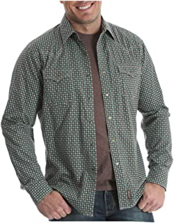 Men's Brown & Green Cactus Print Retro Western Snap Shirt