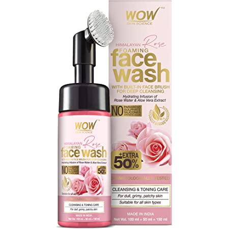 WOW Skin Science Himalayan Rose Foaming Face Wash With Built-In Brush - Contains Rose Water & Aloe Vera Extract - For Cleansing & Toning - No Parabens, Sulphate, Silicones & Synthetic Color, 150 mL