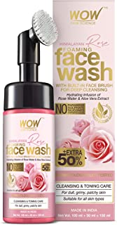 WOW Skin Science Himalayan Rose Foaming Face Wash With Built-In Brush - Contains Rose Water & Aloe Vera Extract - For Clea...