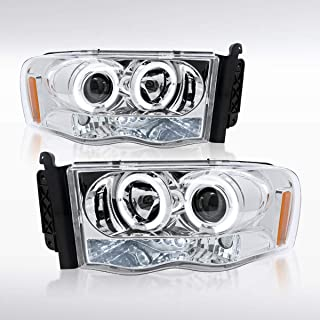 Autozensation For Dodge Ram Pickup Chrome LED Halo Projector Headlights Pair