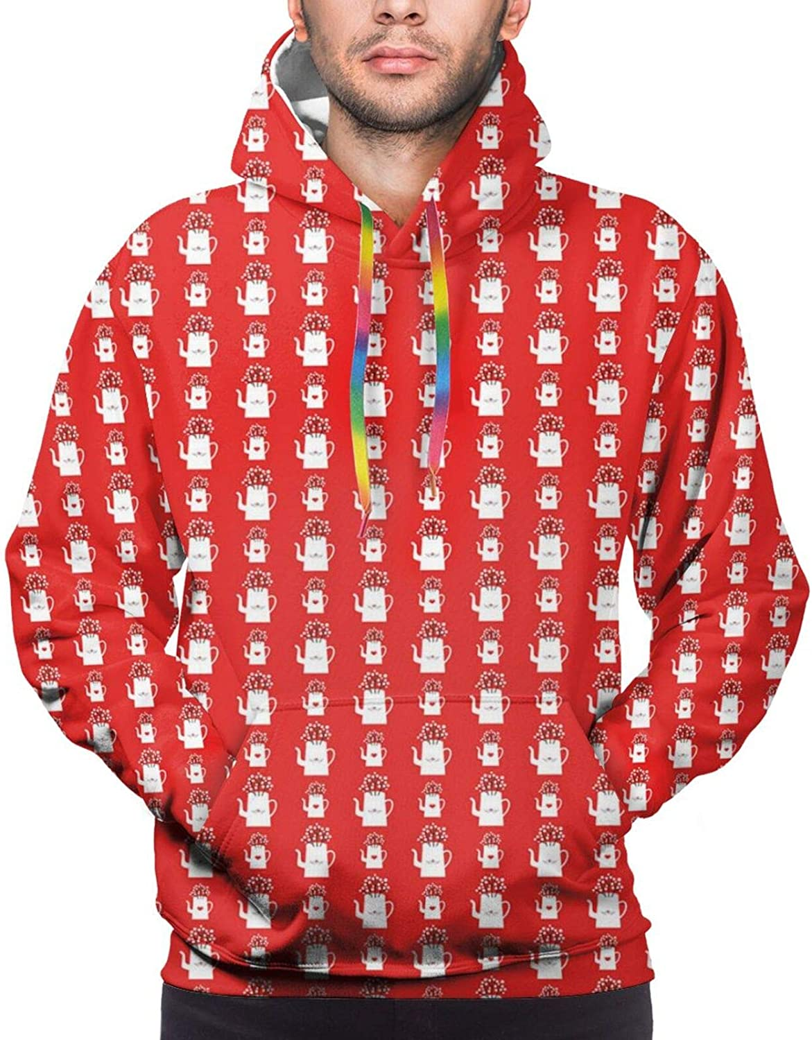 Men's Hoodies Sweatshirts,Love Themed Pattern with Birds and Hearts On Sweet Kettles