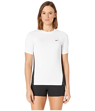 Nike Solid Short Sleeve Hydroguard (White) Women