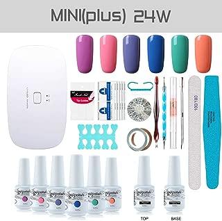 Gel Nail Polish Starter Kit, with 24W SunMini Plus UV LED Nail Dryer Manicure Tools, 6 Classic Gel polish Set Top and Base Coat, Portable Kit for Travel by Vishine #13